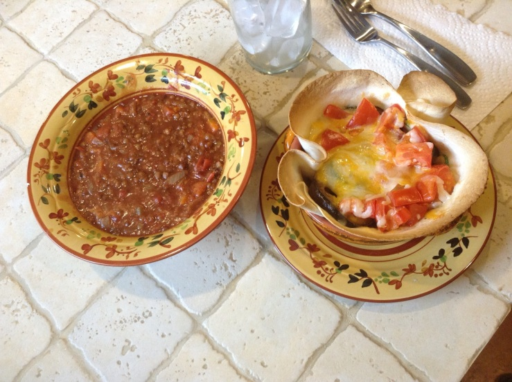 Lintel Soup and Tortilla with veggies and cheese