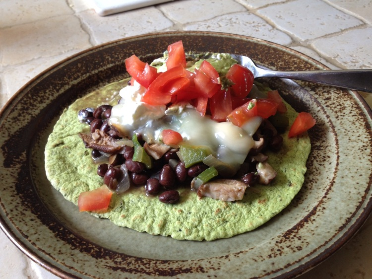 Black Beans with Veggies and Cheese on Spinach Tortilla