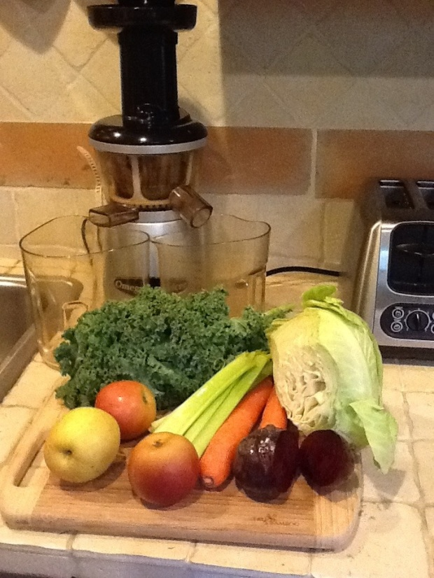The beginnings of my juice this morning.